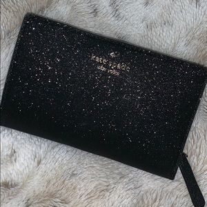 Kate Spade Joeley wallet in black glitter